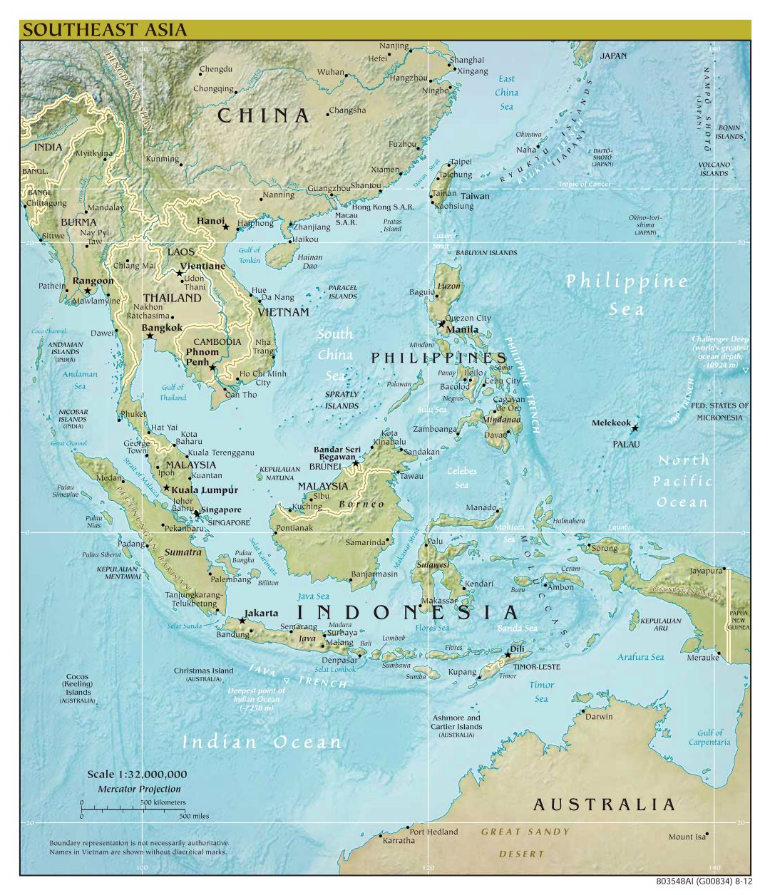 Large scale political map of Southeast Asia with relief - 2012