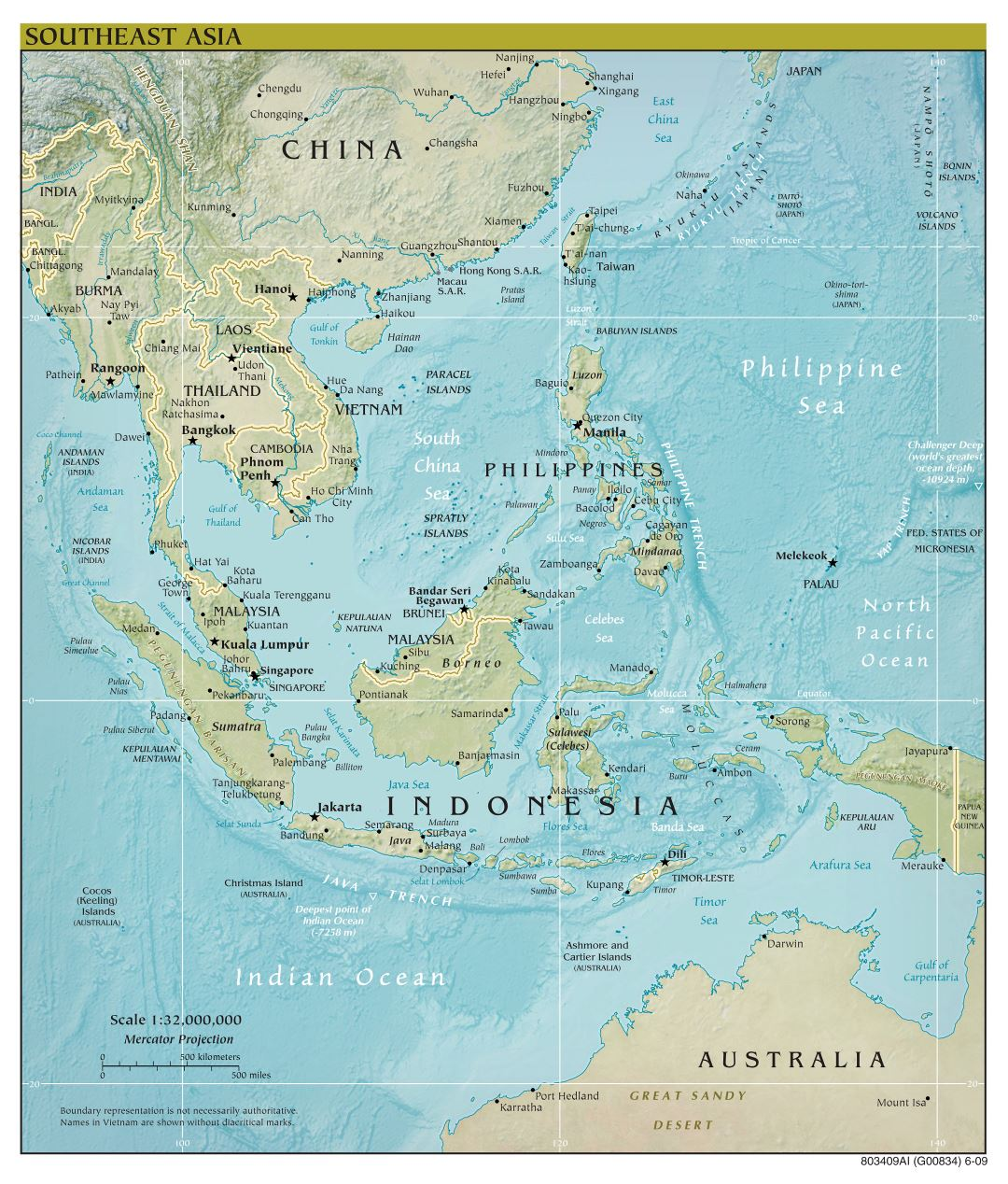 Large scale political map of Southeast Asia with relief and capitals - 2009