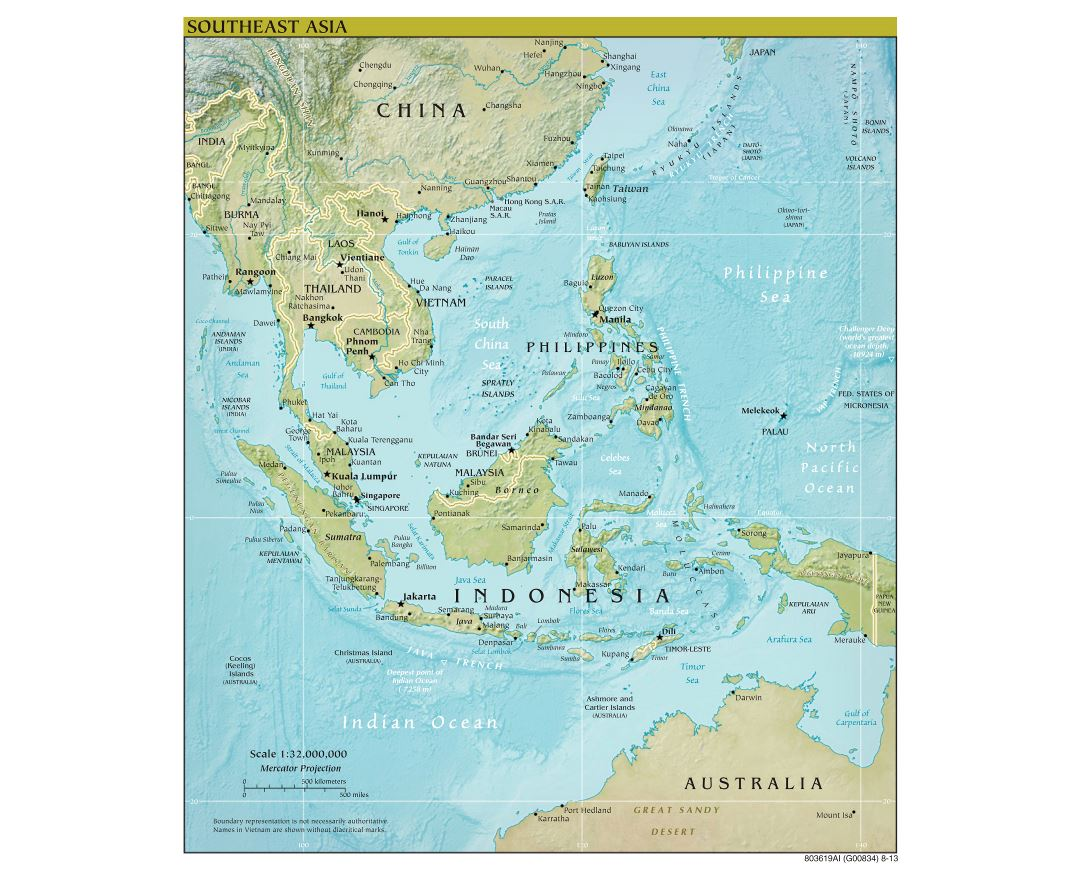 Large scale political map of Southeast Asia with relief, capitals and major cities - 2013
