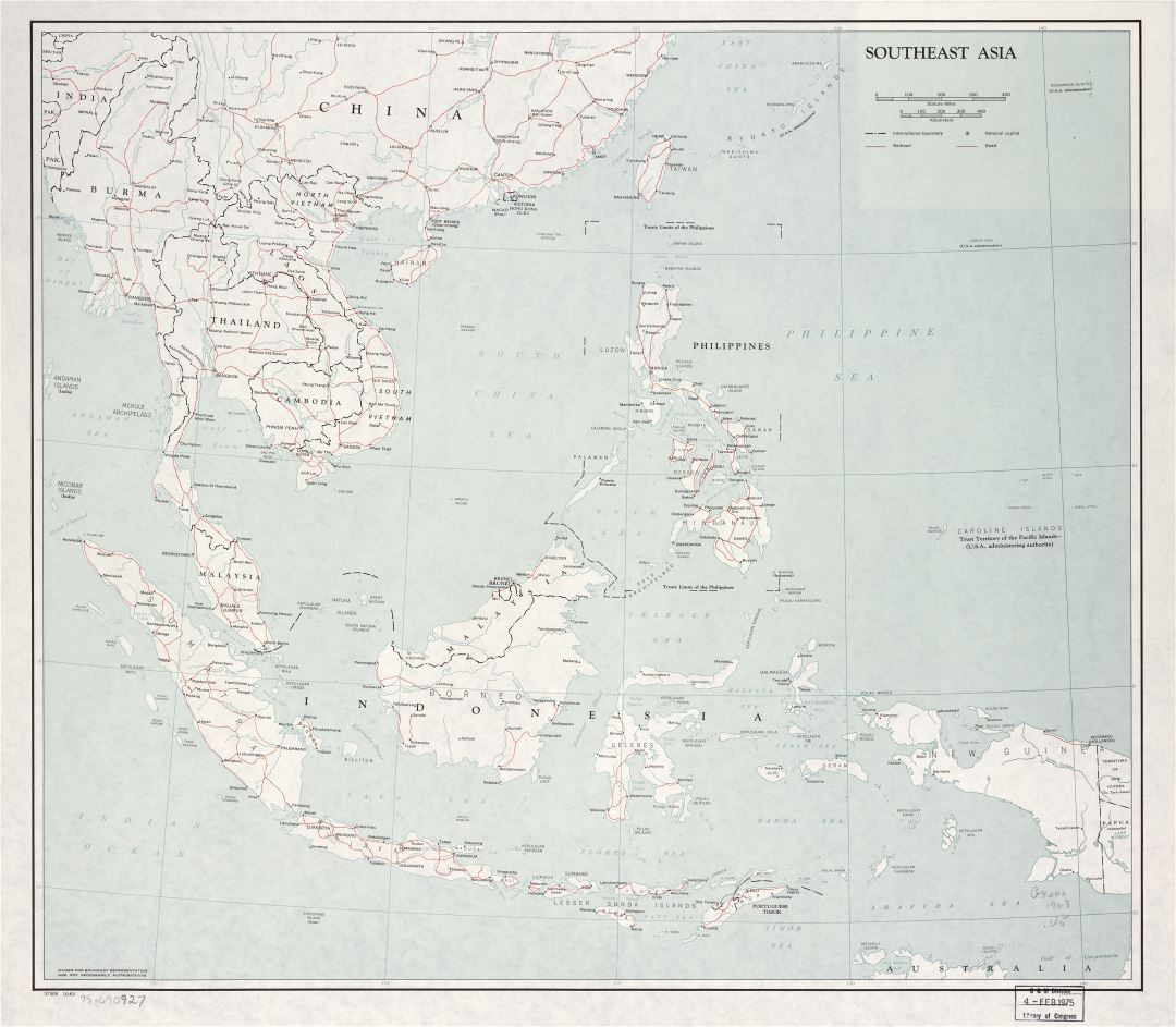 Large scale political map of Southeast Asia with roads, railroads and major cities - 1963