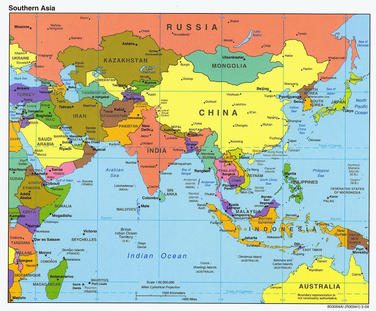 Detailed Map Of Asia.Detailed Political Map Of Southern Asia With Capitals And