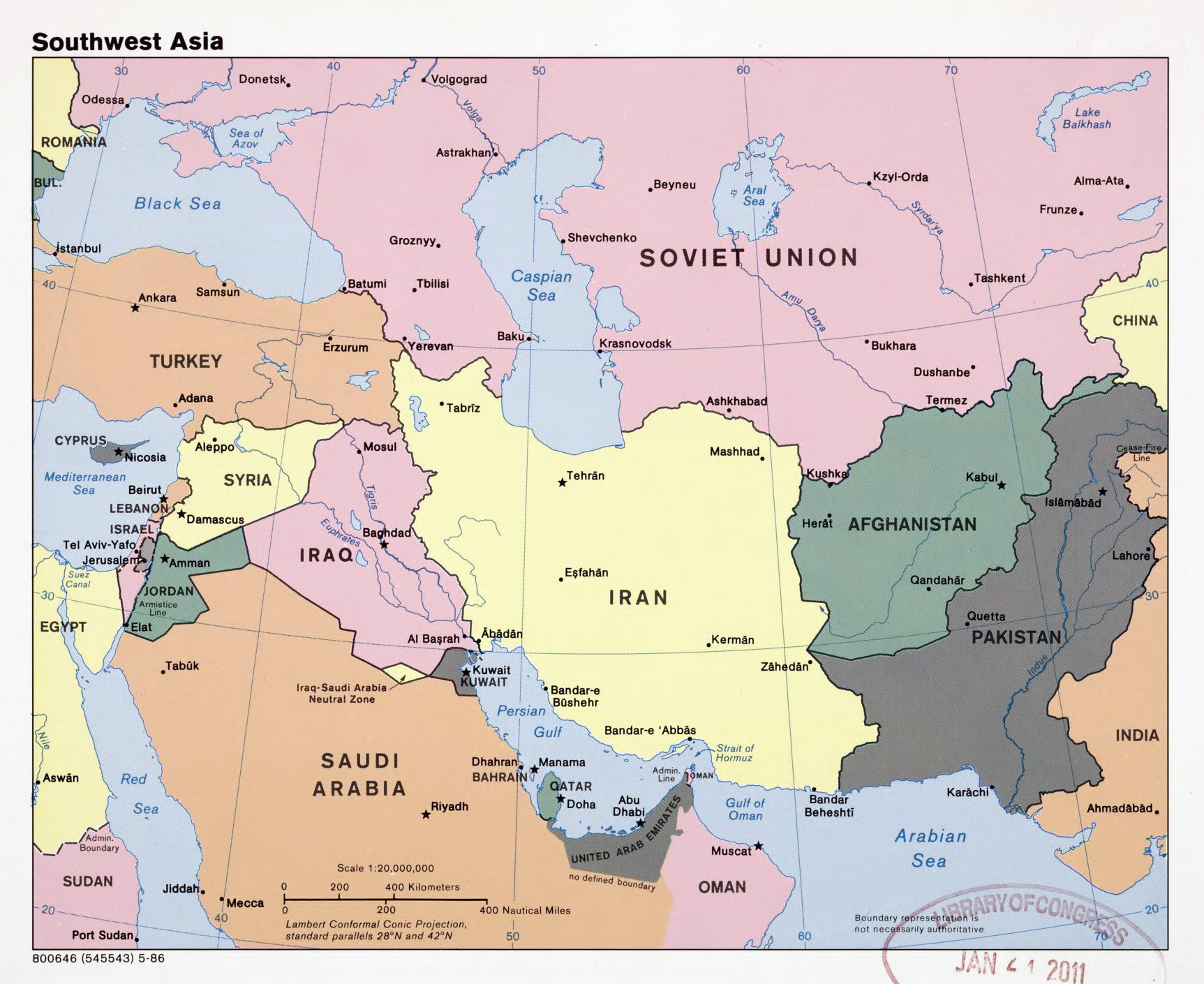 large detailed political map of southwest asia with capitals and major cities 1986
