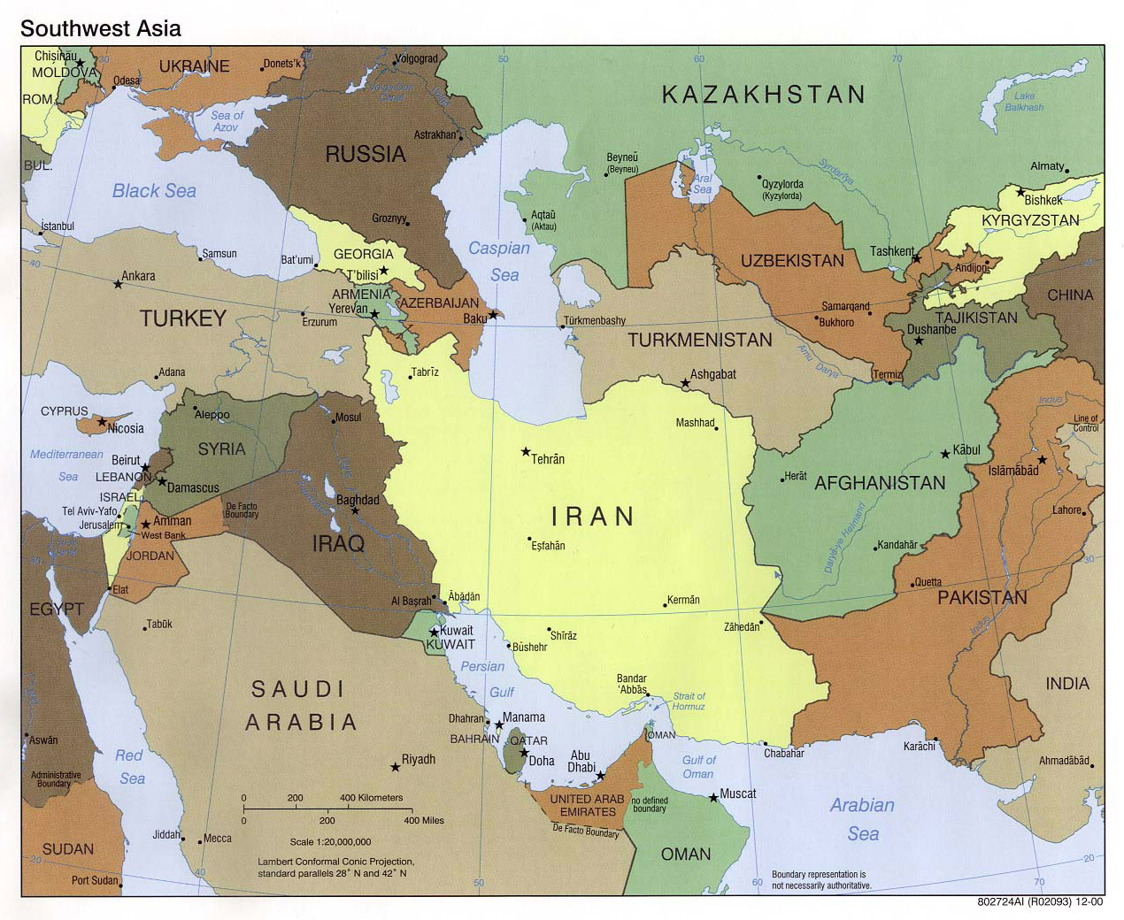 Large political map of Southwest Asia - 2000 | Southwest ...