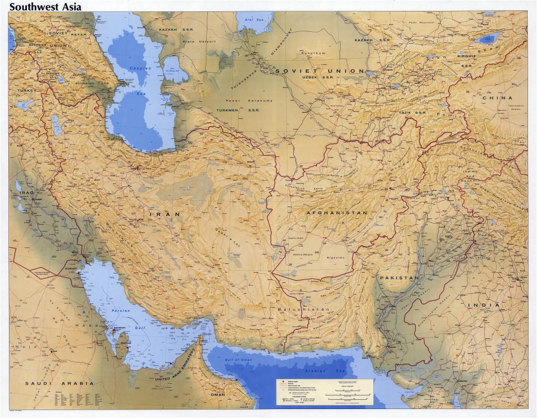 Large scale detailed map of Southwest Asia with relief, roads, railroads, cities and airports - 1980