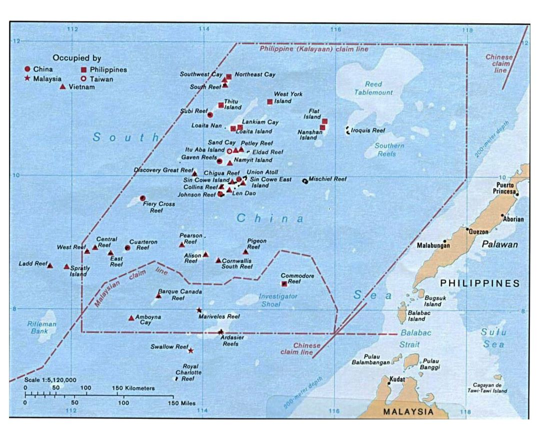 Detailed map of Spratly Islands