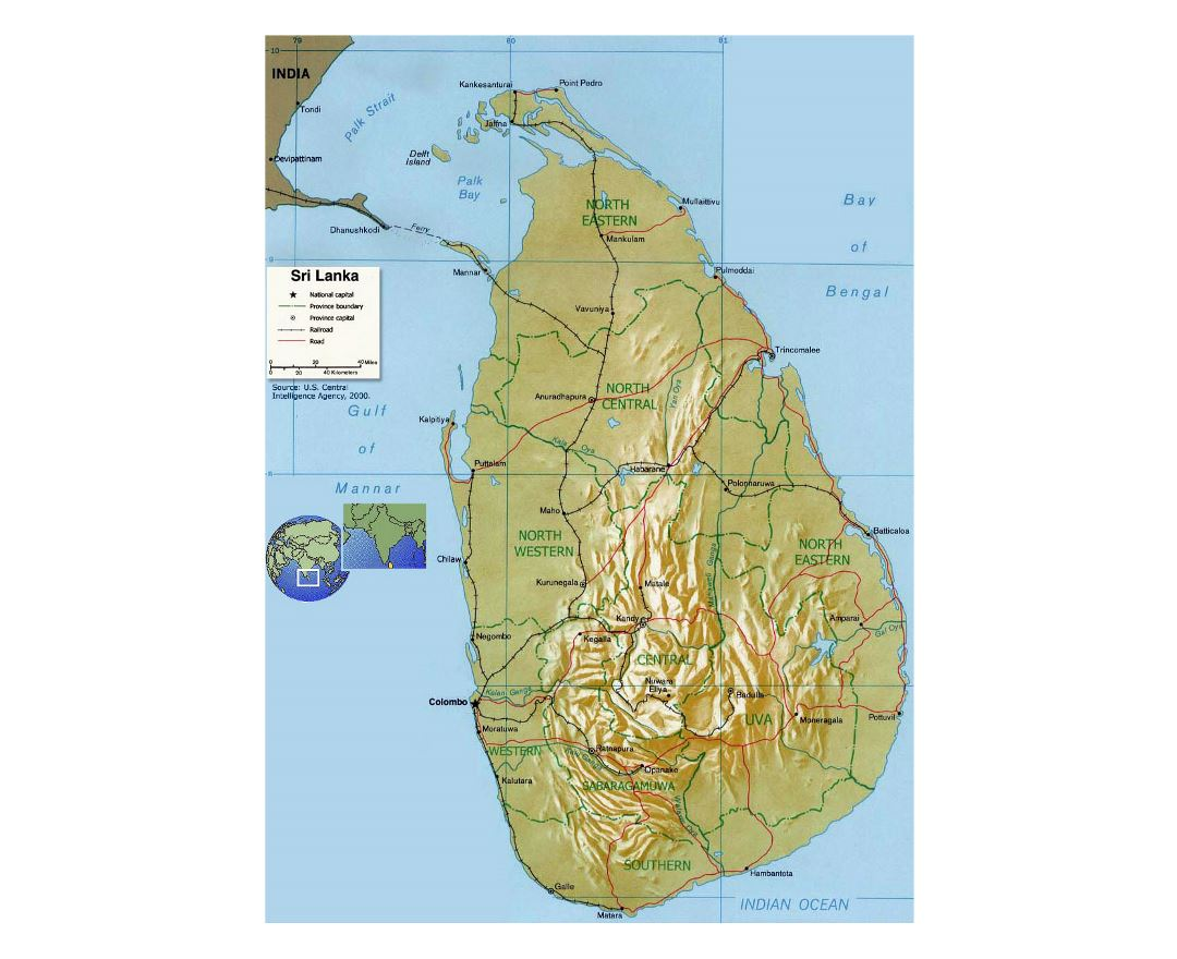 Detailed political and administrative map of Sri Lanka with relief, roads, railroads and major cities