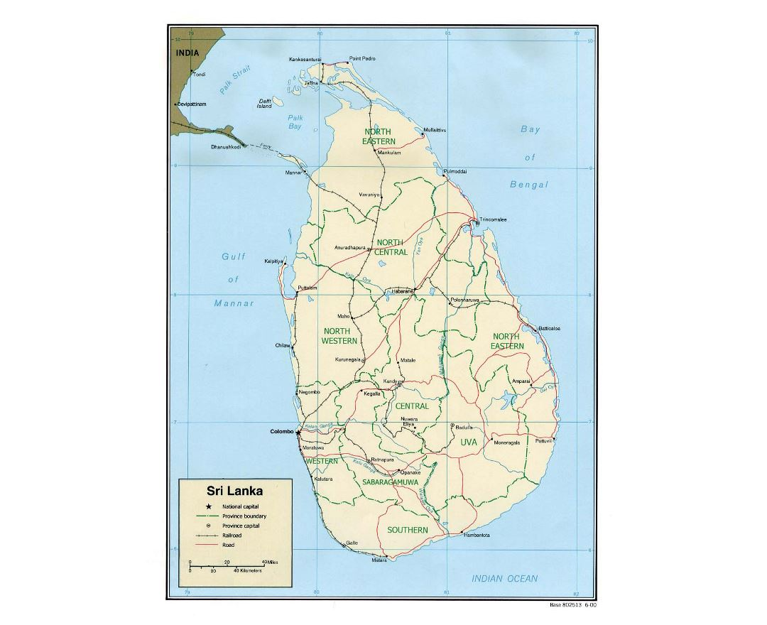Detailed political and administrative map of Sri Lanka with roads, railroads and major cities - 2000