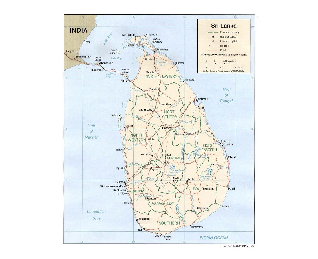 Detailed political and administrative map of Sri Lanka with roads, railroads and major cities - 2001