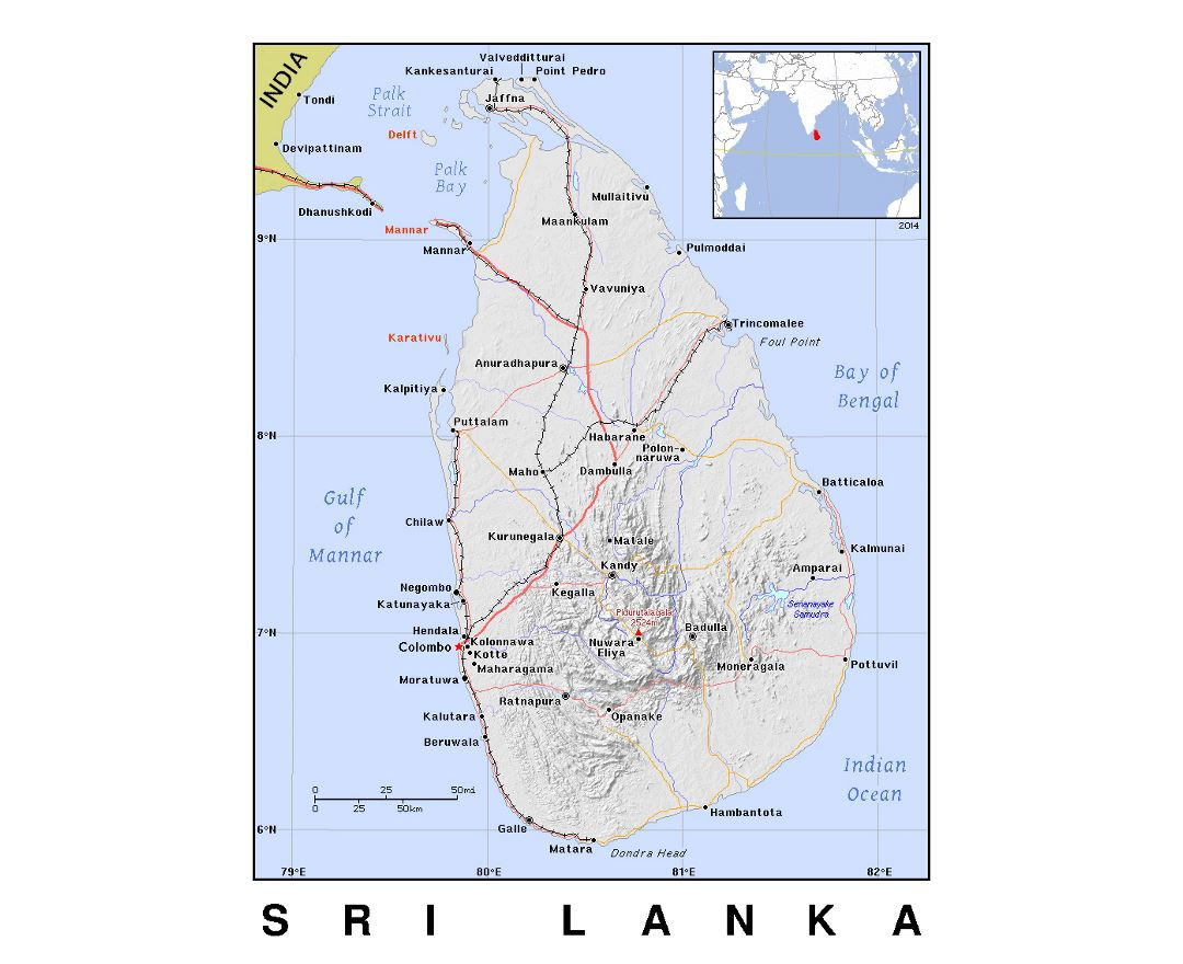 Detailed political map of Sri Lanka with relief