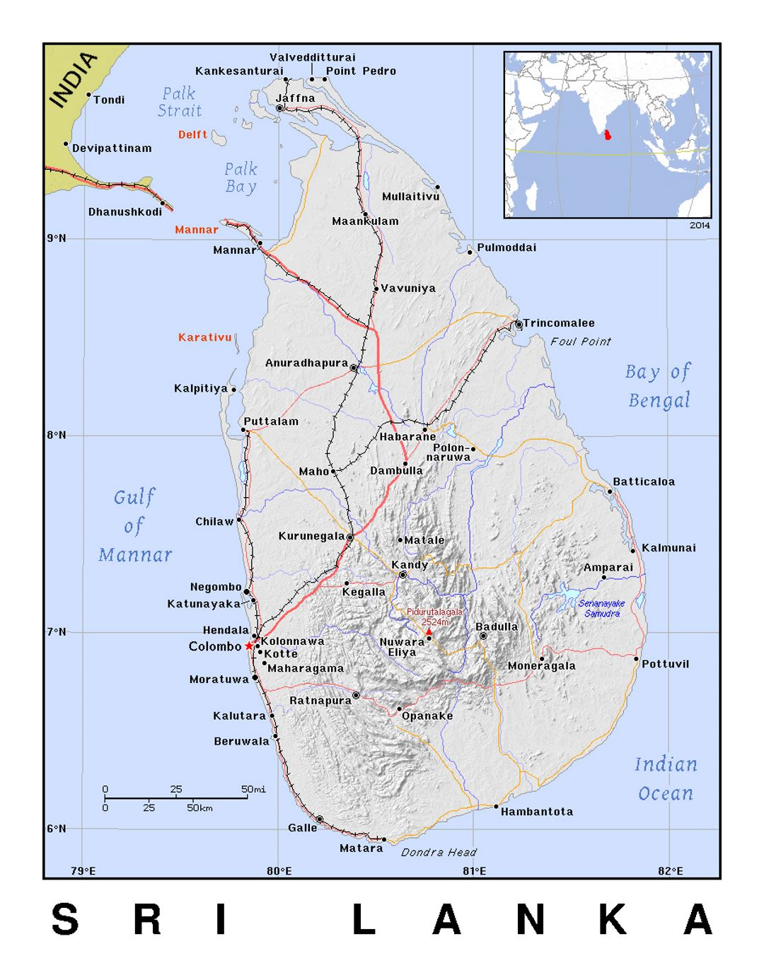 Sri Lanka Political Map.Detailed Political Map Of Sri Lanka With Relief Sri Lanka Asia
