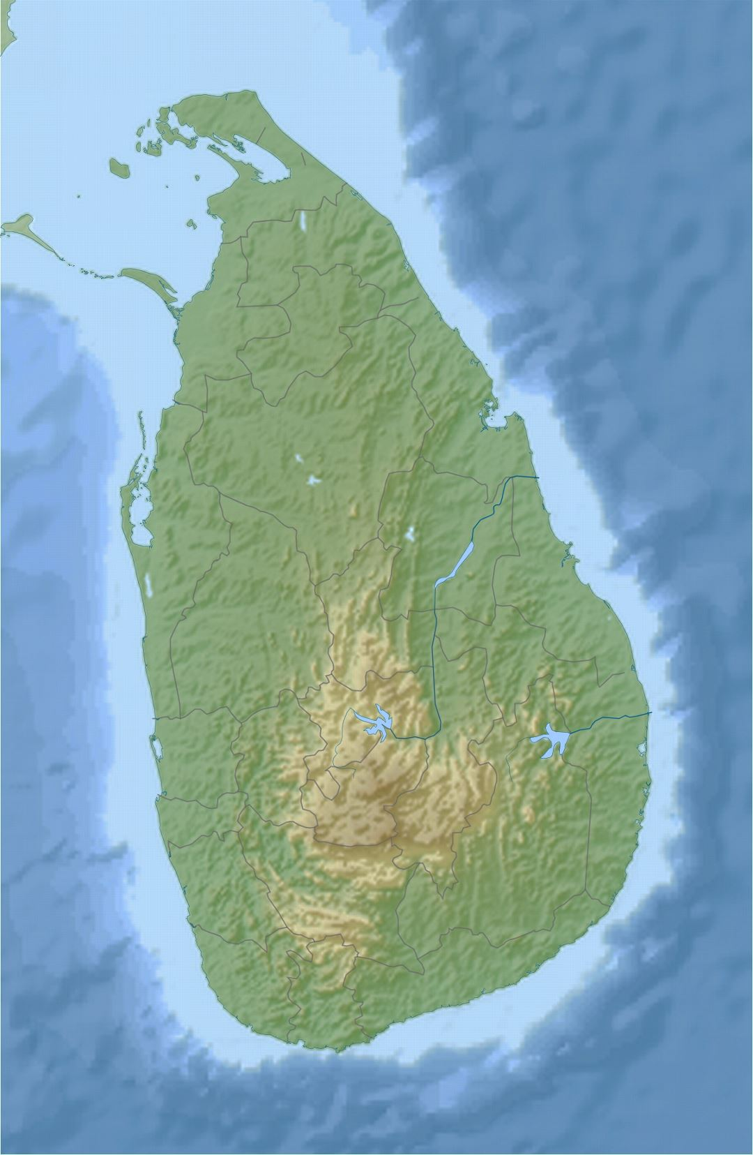 Detailed relief map of Sri Lanka