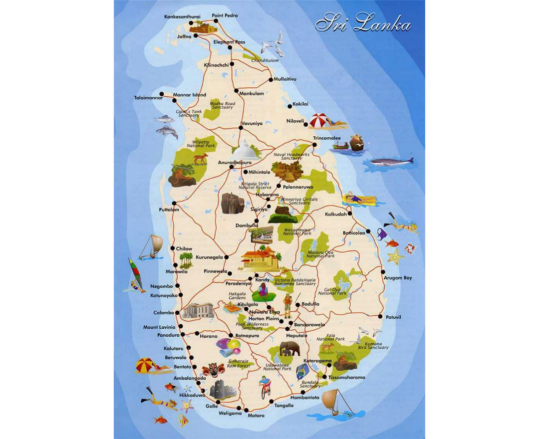 Detailed tourist map of Sri Lanka