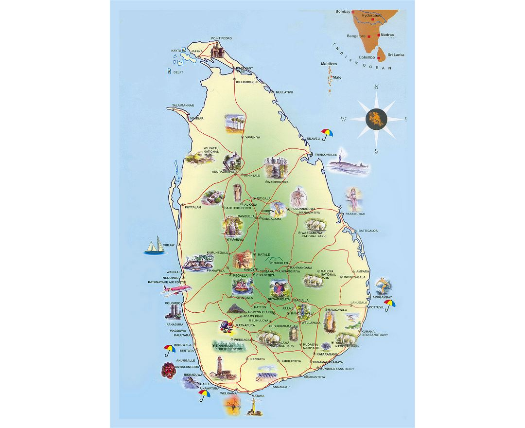 Detailed travel map of Sri Lanka