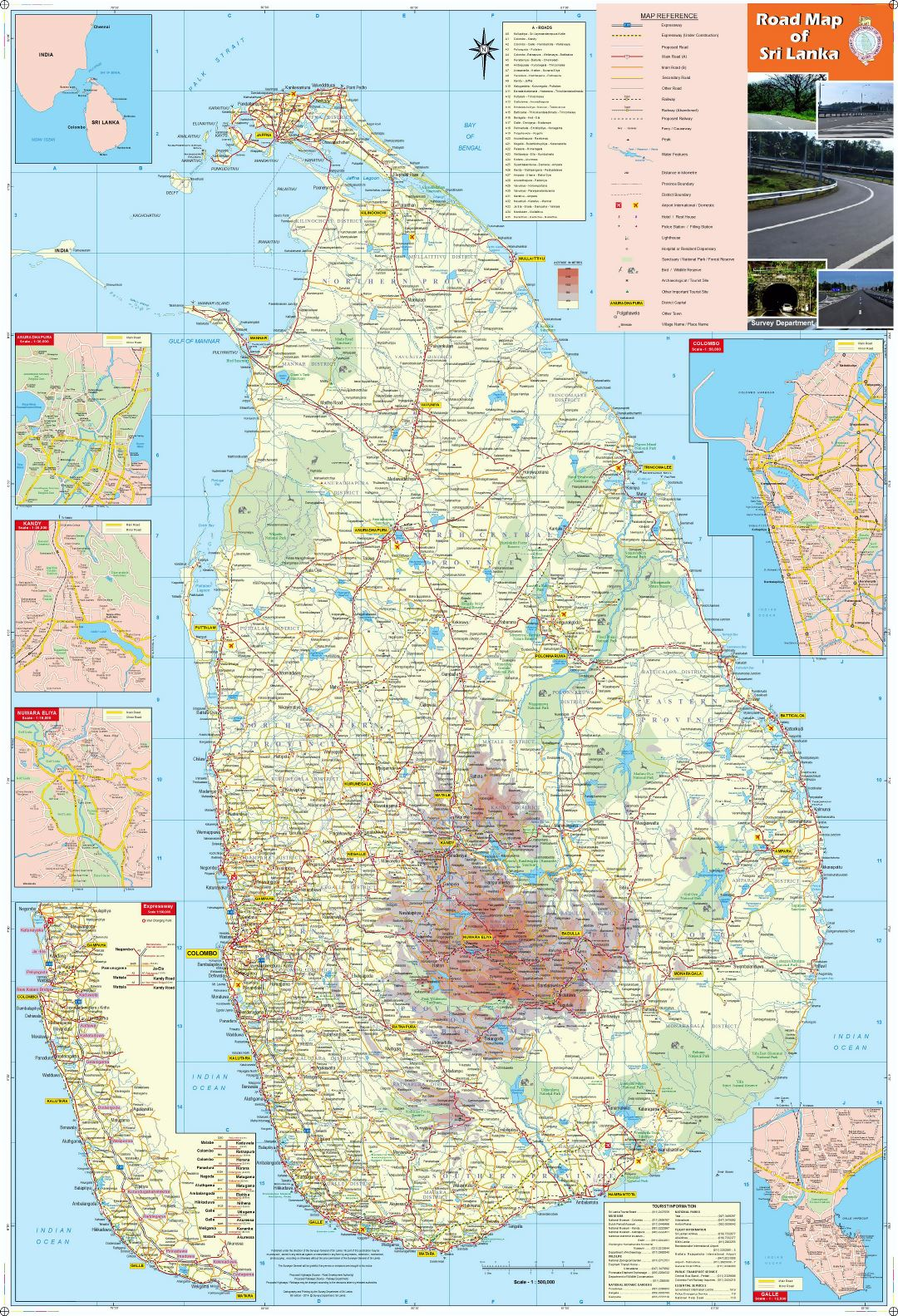 Large detailed map of Sri Lanka with all cities, roads, railroads, airpors and other marks