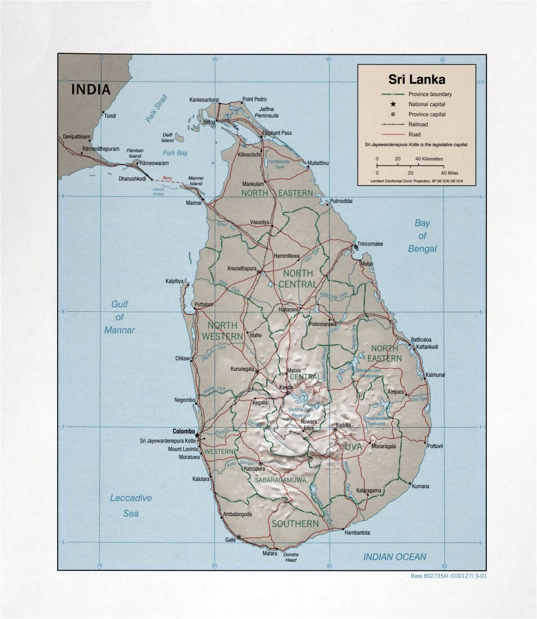 Large detailed political and administrative map of Sri Lanka with relief, roads, railroads and major cities - 2001