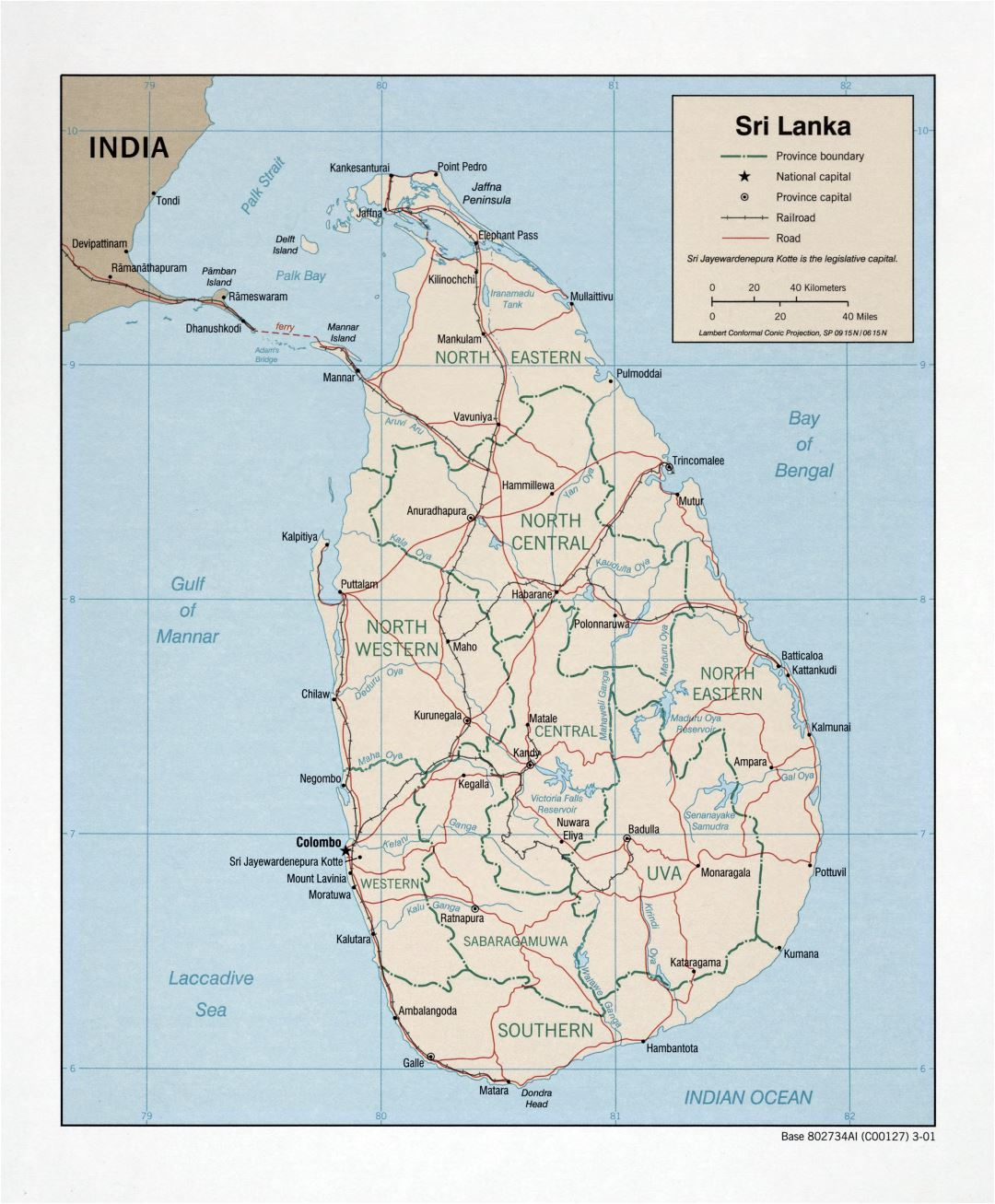 Large detailed political and administrative map of Sri Lanka with roads, railroads and major cities - 2001