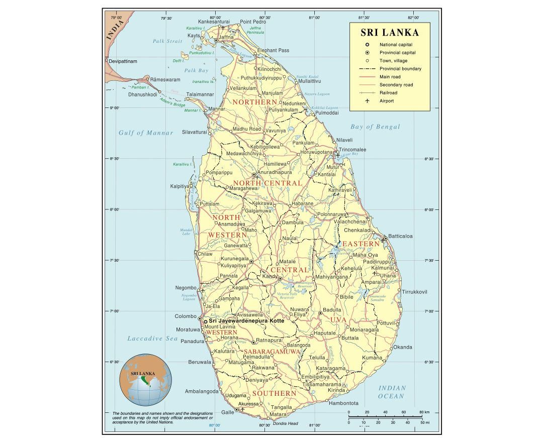 Large detailed political and administrative map of Sri Lanka with roads, railroads, cities and airports