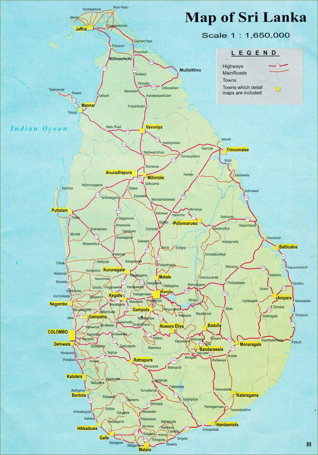 Large detailed road map of Sri Lanka with cities