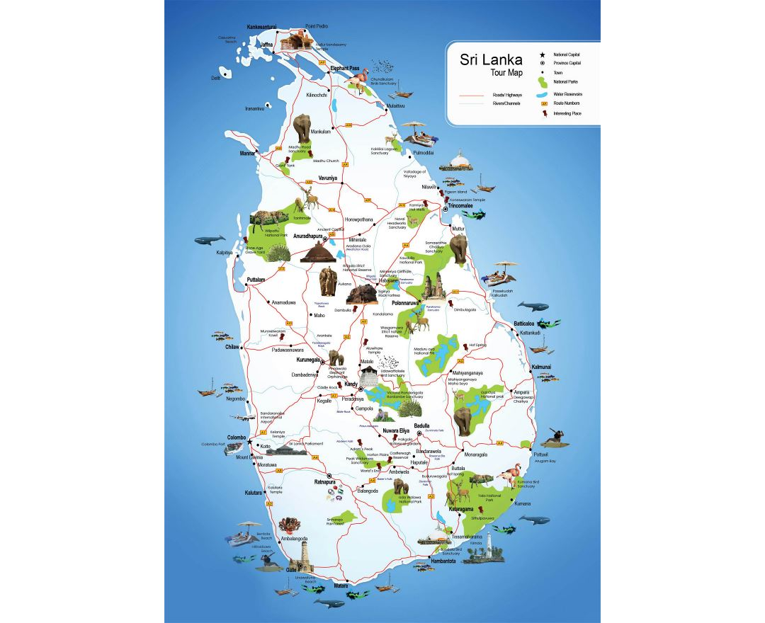 Large detailed tourist map of Sri Lanka