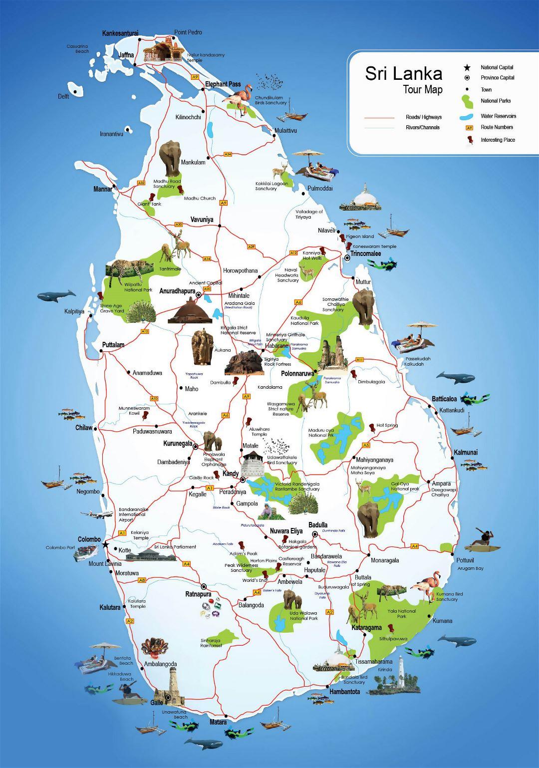 Large detailed tourist map of sri lanka sri lanka asia - Sri lankan passport office in colombo ...