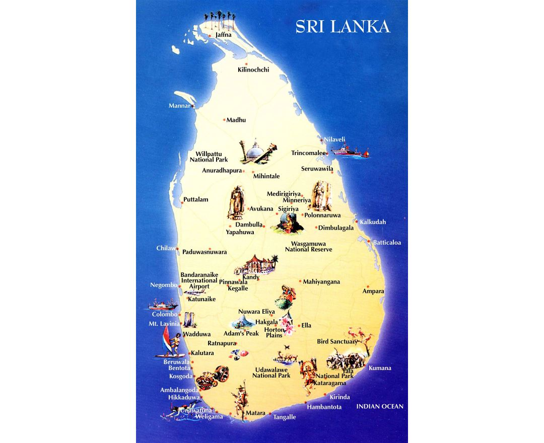 Large detailed travel map of Sri Lanka