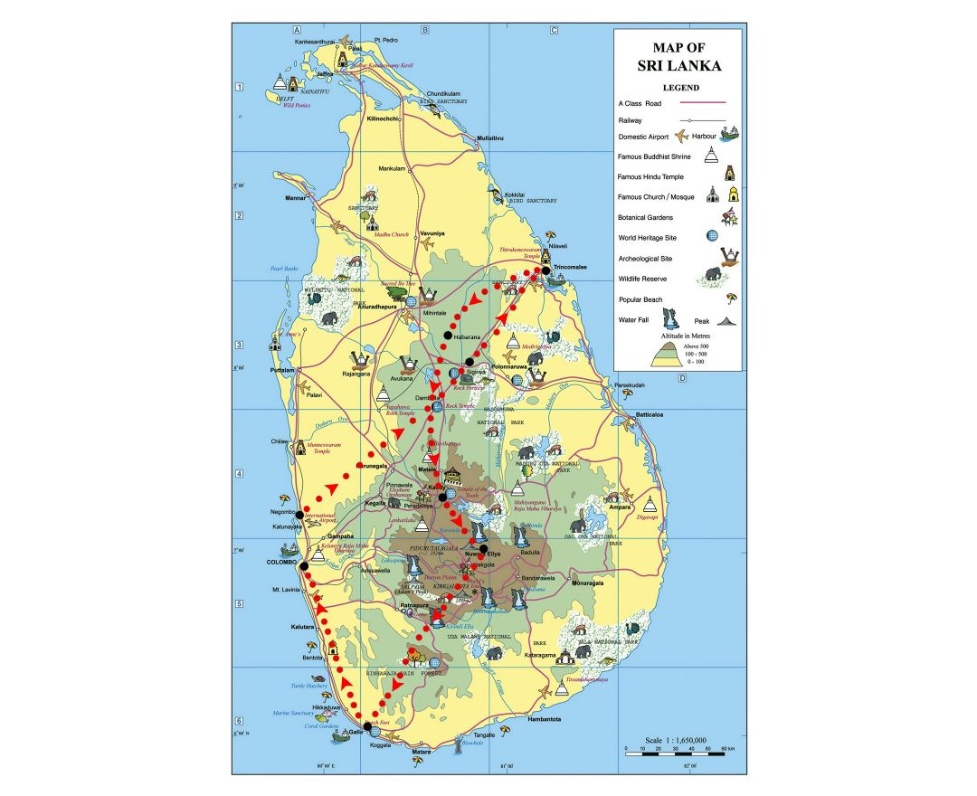 Large elevation and travel map of Sri Lanka