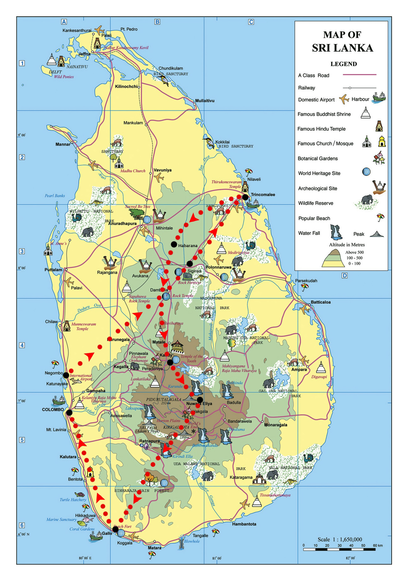 Large elevation and travel map of Sri Lanka Sri Lanka Asia