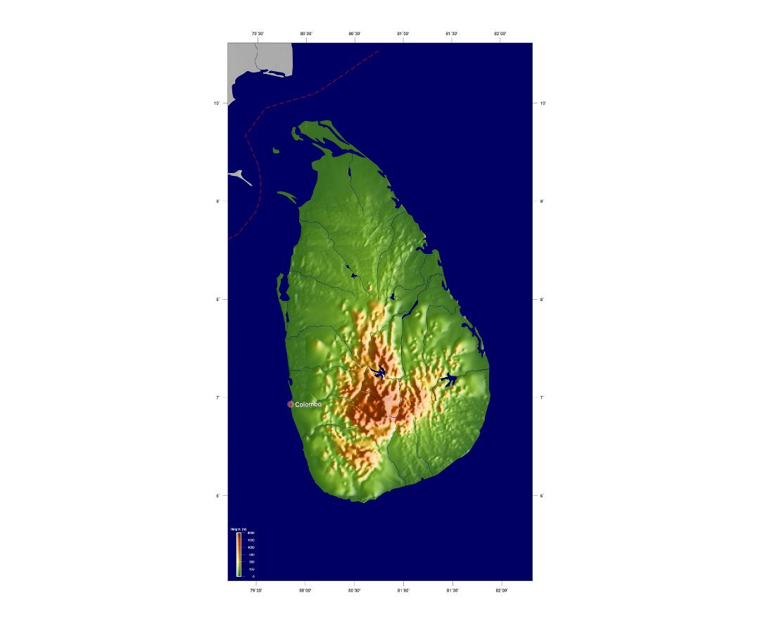 Large elevation map of Sri Lanka