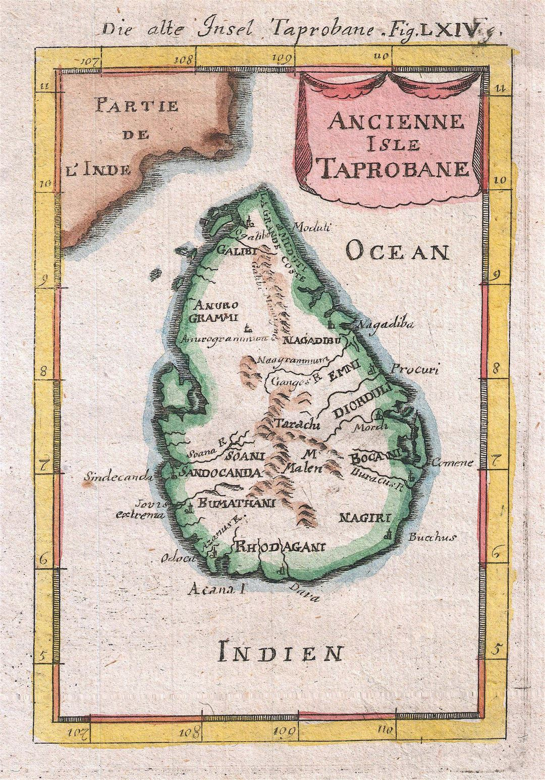 Large old map of Sri Lanka (Ceylon) - 1686