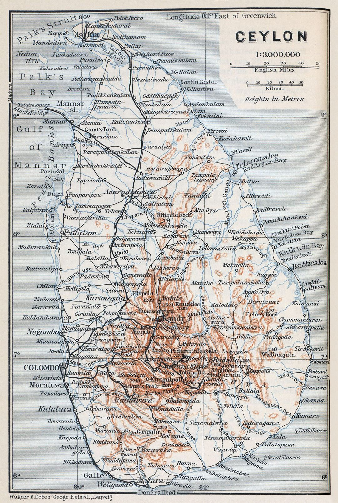 Large old map of Sri Lanka with roads, cities and relief - 1914