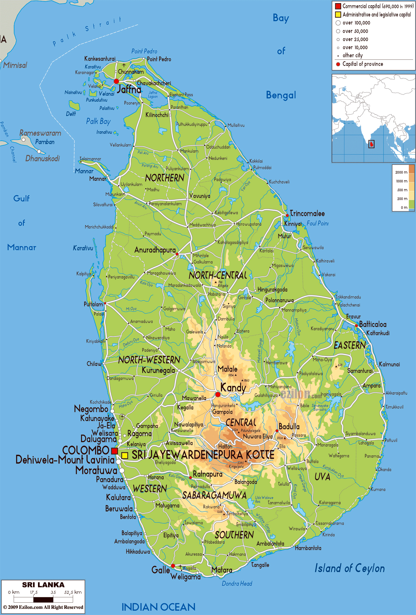 Large physical map of Sri Lanka with roads cities and airports