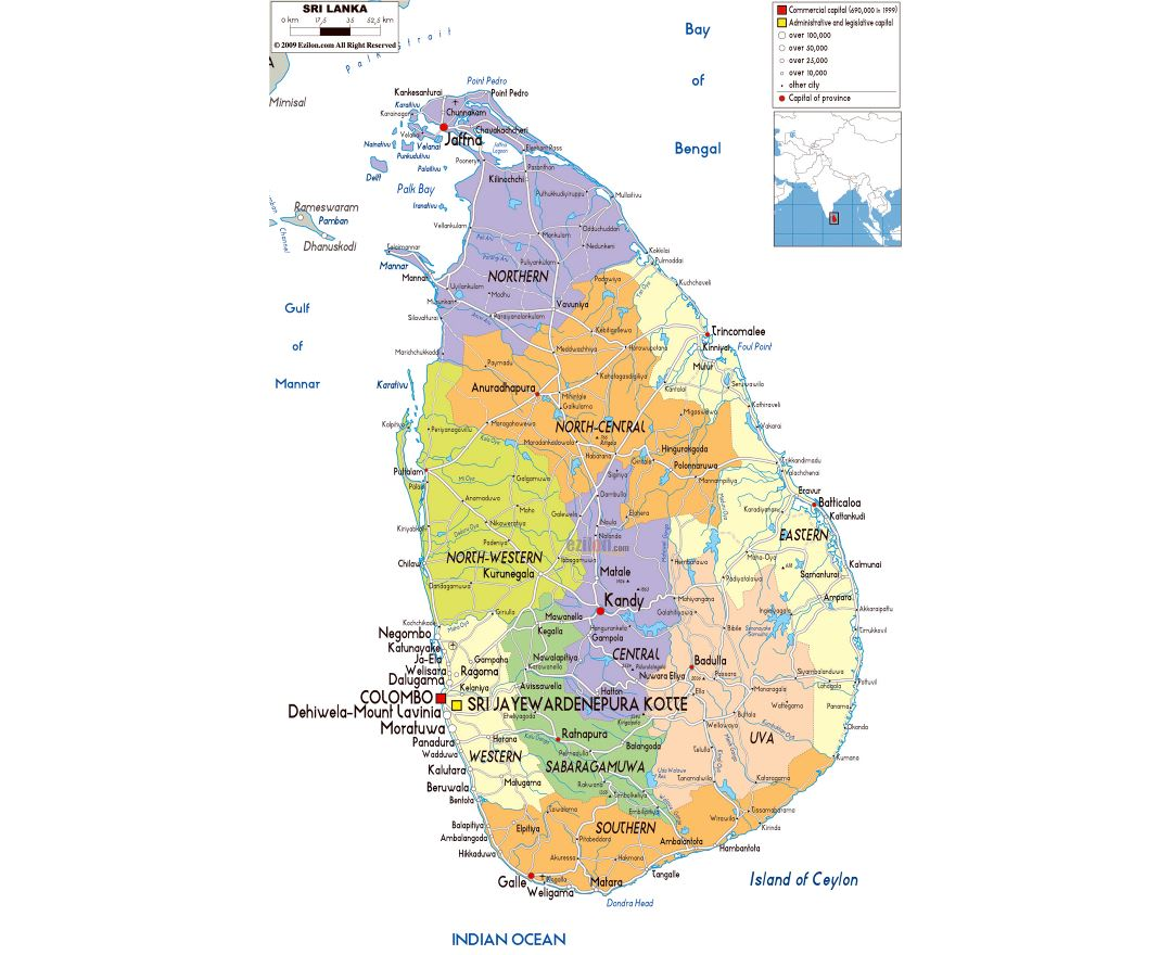 Large political and administrative map of Sri Lanka with roads, cities and airports
