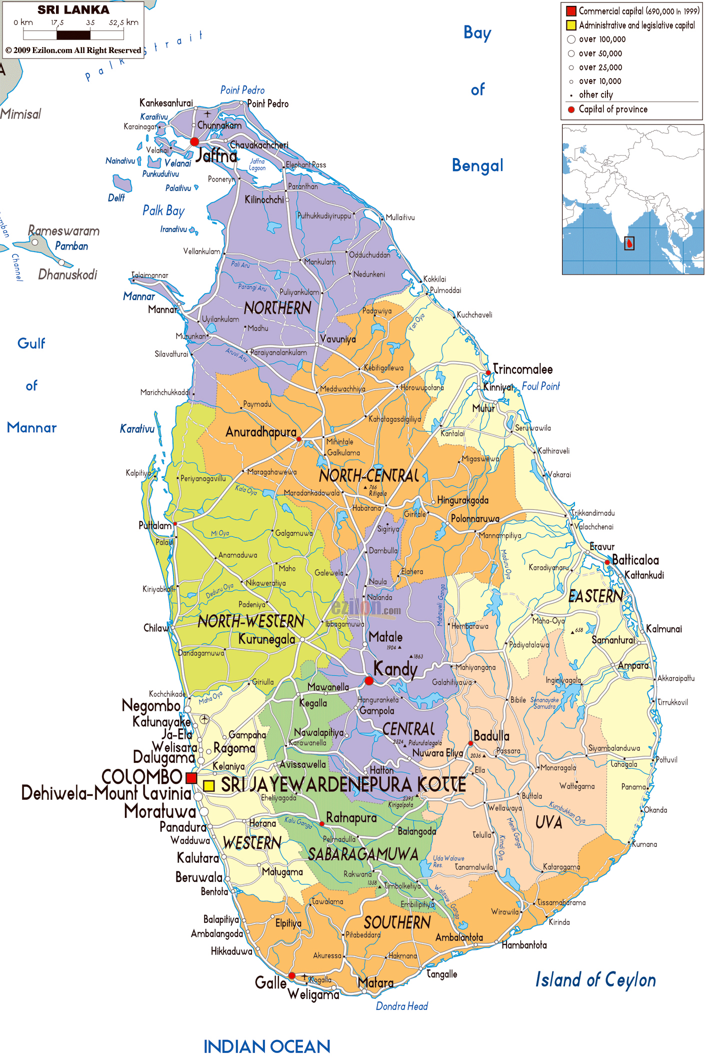 Large political and administrative map of sri lanka with roads large political and administrative map of sri lanka with roads cities and airports gumiabroncs Images