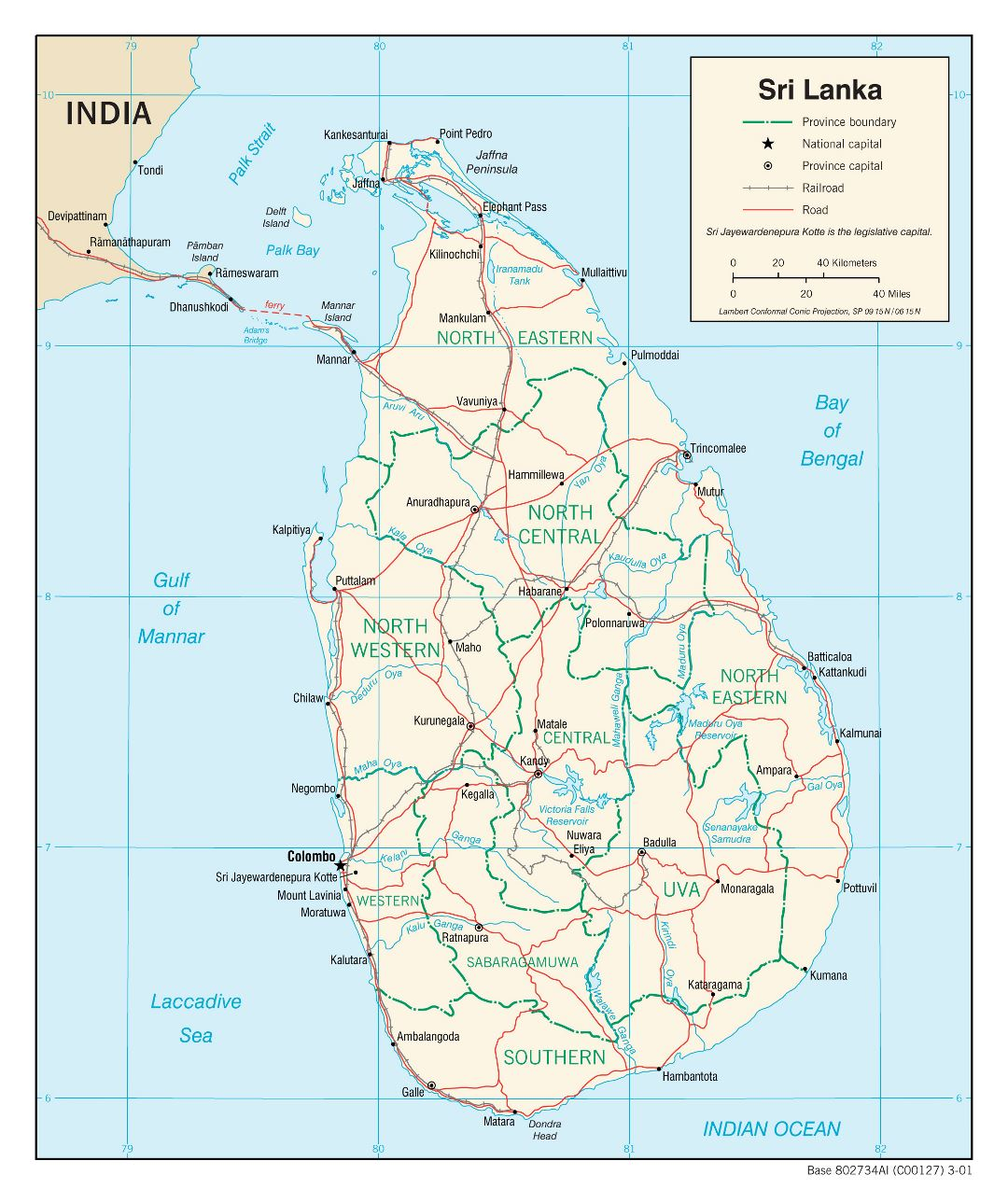 Large political and administrative map of Sri Lanka with roads, railroads and major cities - 2001