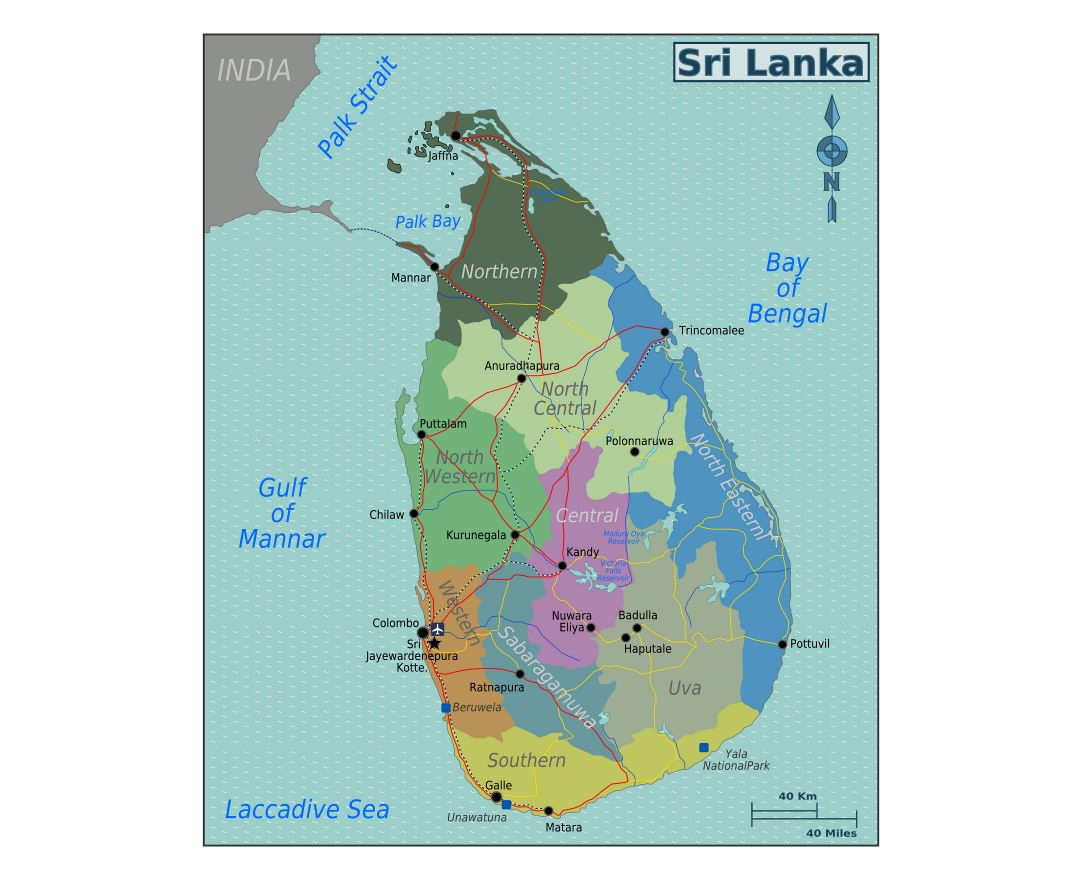 Large regions map of Sri Lanka