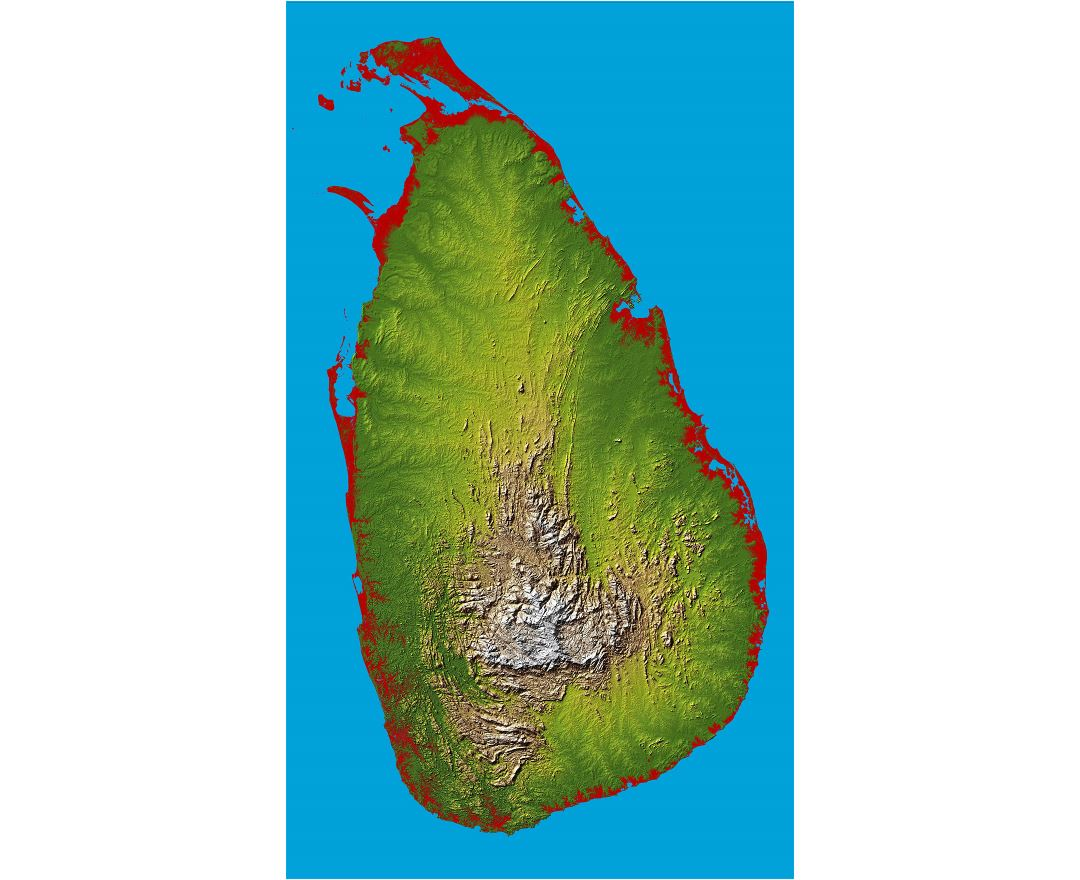 Large relief map of Sri Lanka