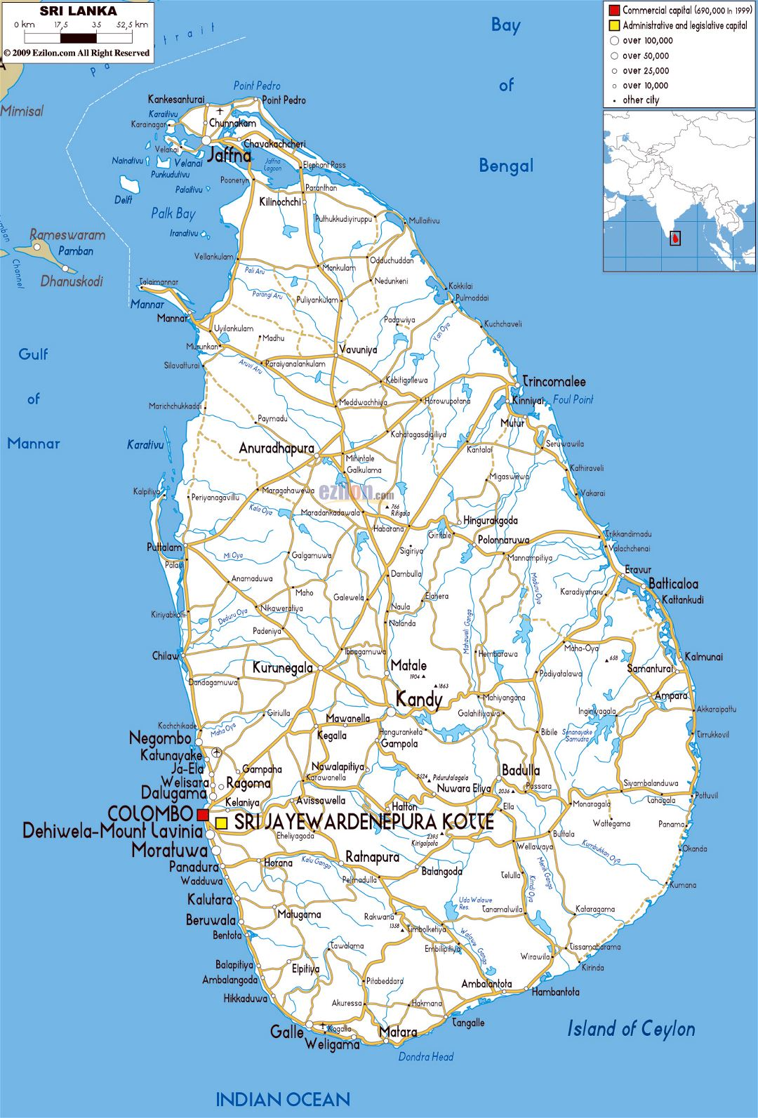 Large road map of Sri Lanka with cities and airports