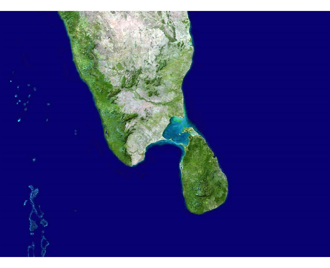 Large satellite map of South India and Sri Lanka