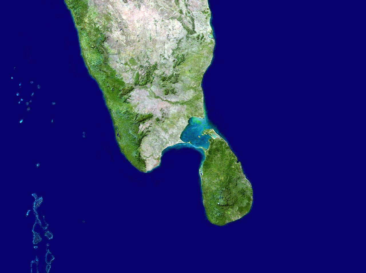 Setelight Map Of India.Large Satellite Map Of South India And Sri Lanka Sri Lanka Asia