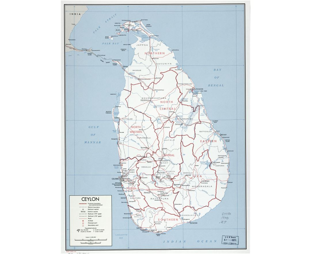 Large scale detailed political and administrative map of Sri Lanka, Ceylon with roads, railroads, ports, airports and cities - 1970