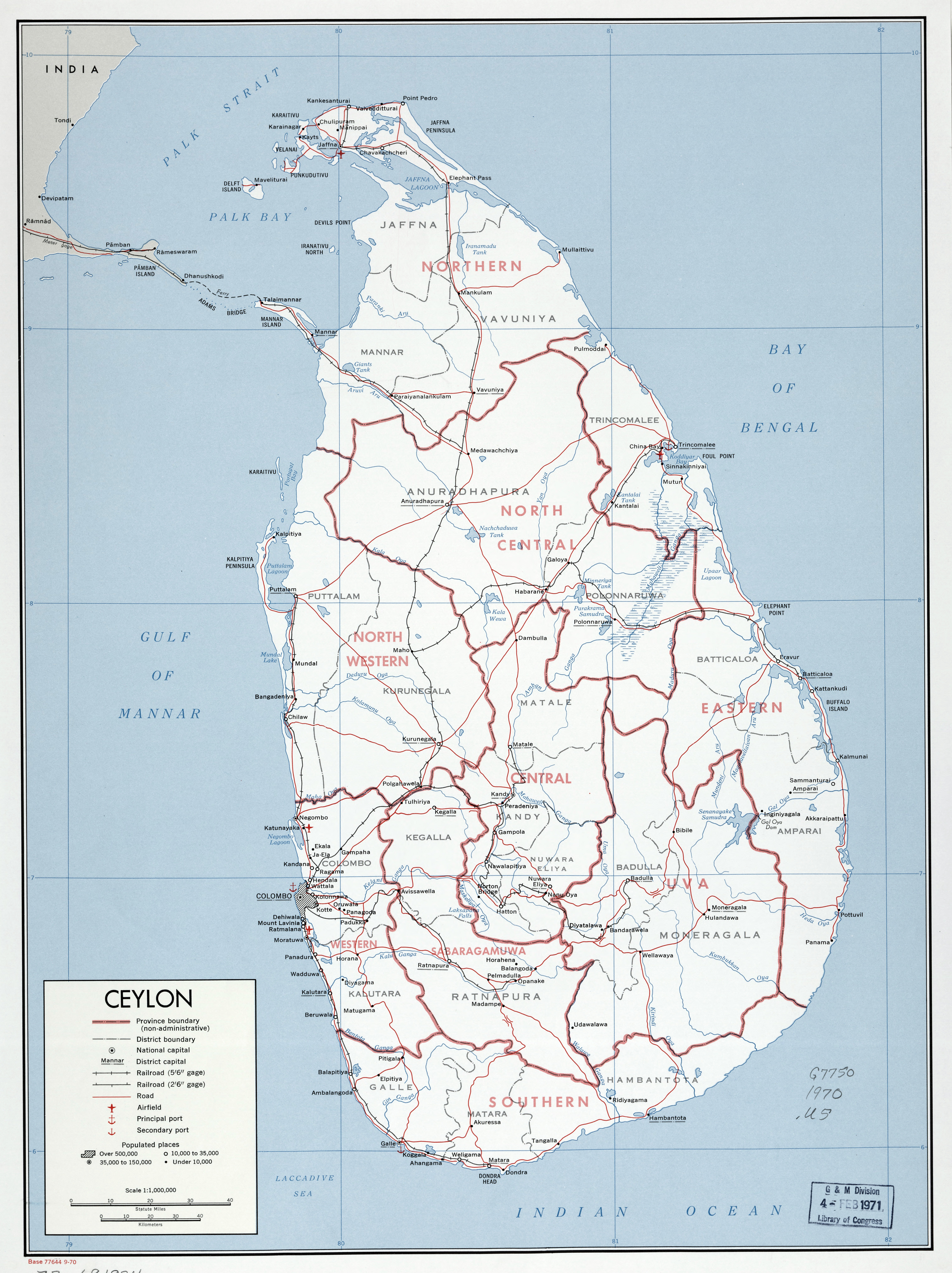 Large scale detailed political and administrative map of Sri Lanka