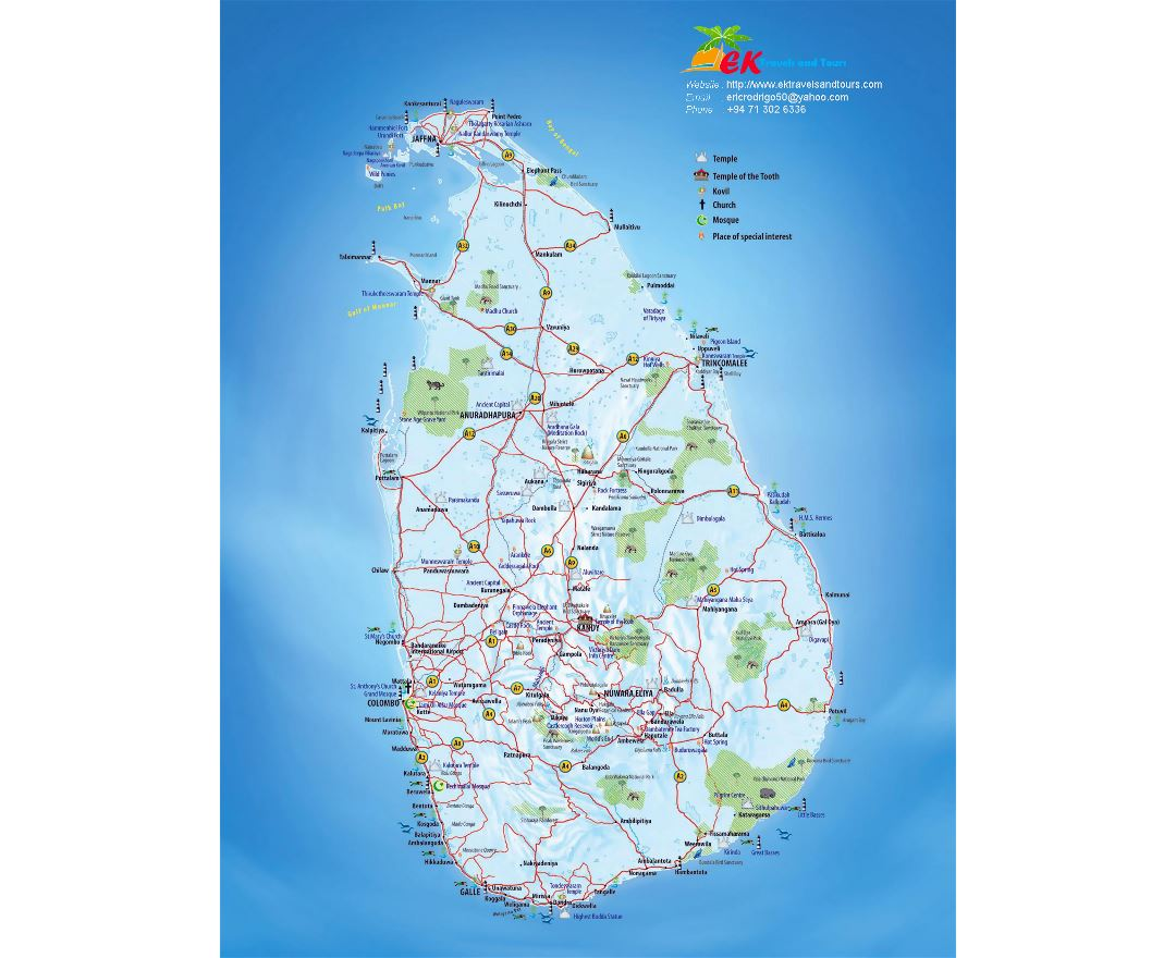 Large tourist map of Sri Lanka with other marks