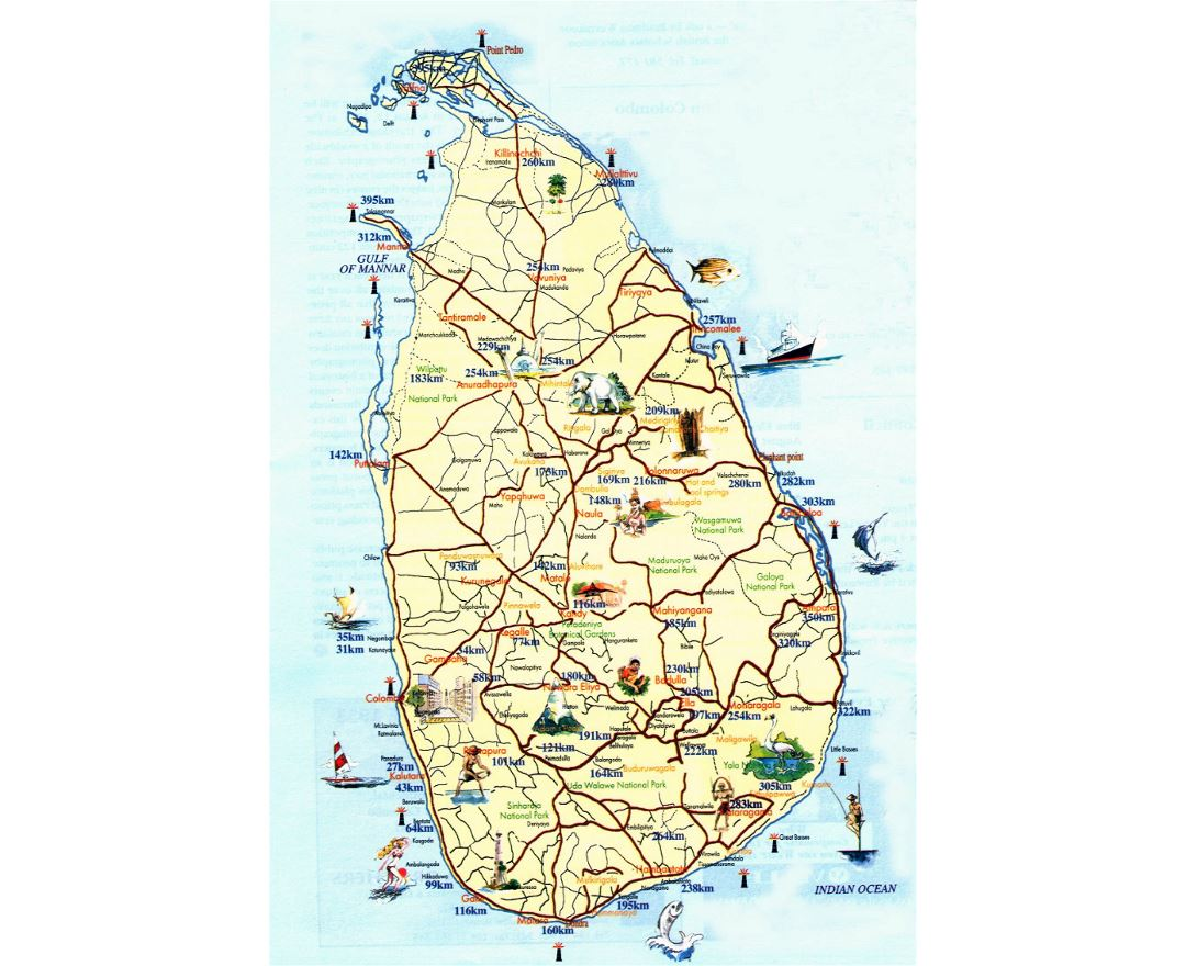 Tourist map of Sri Lanka