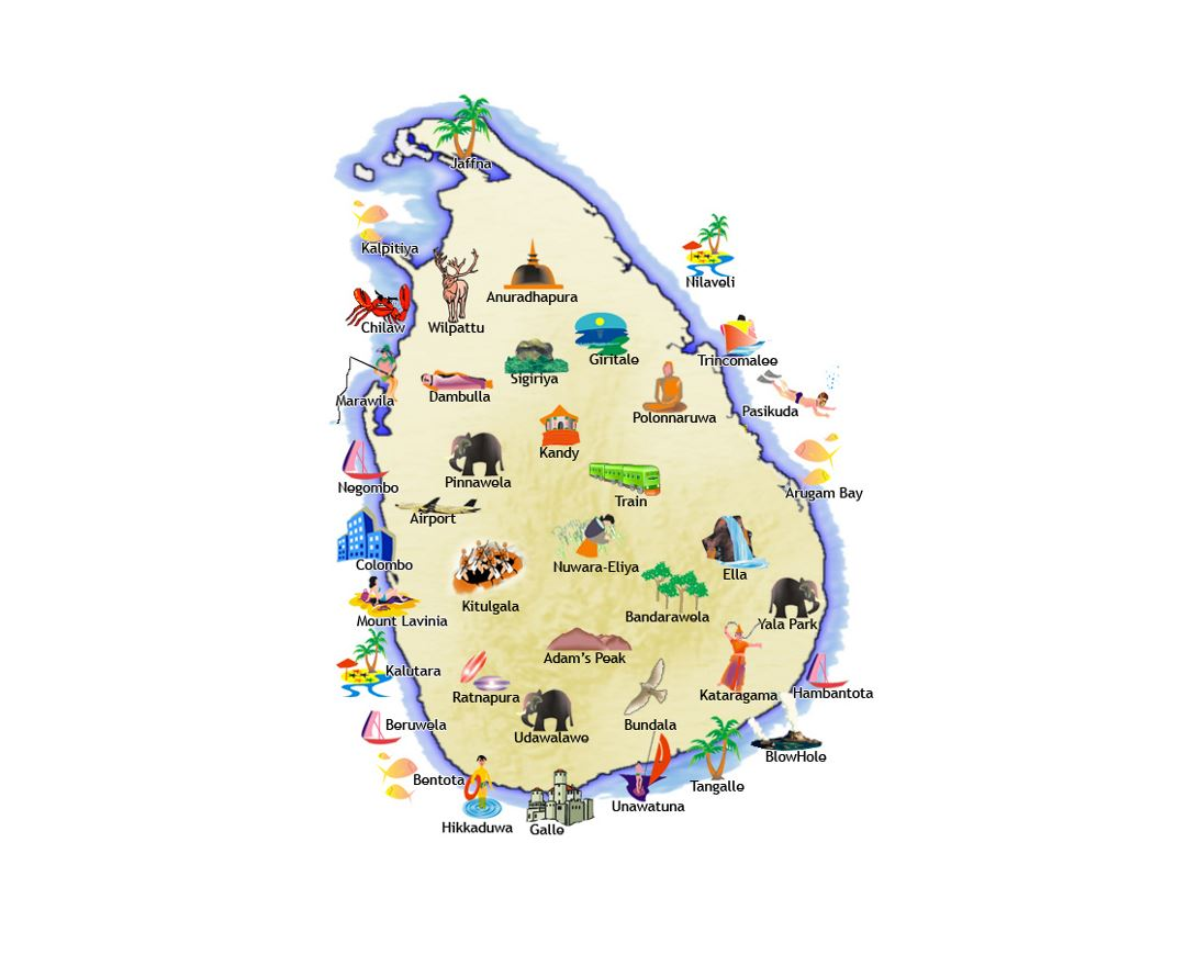 Travel illustrated map of Sri Lanka