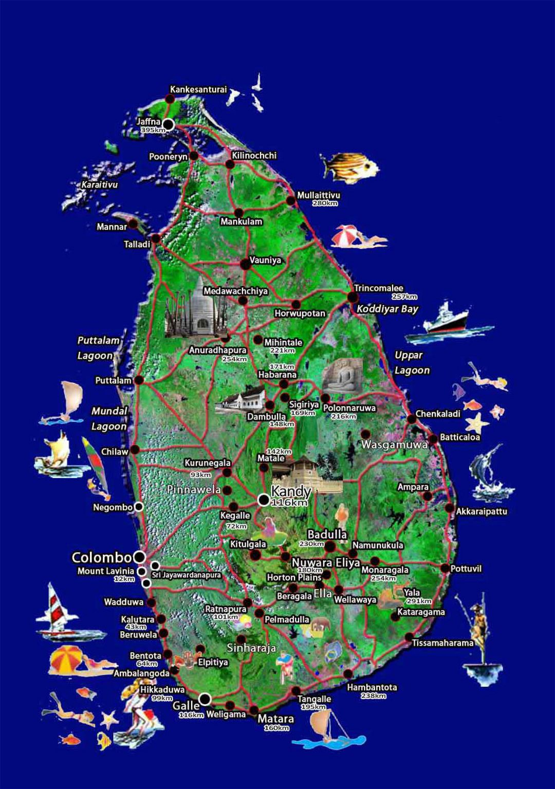 Travel map of Sri Lanka Sri Lanka Asia Mapsland Maps of the