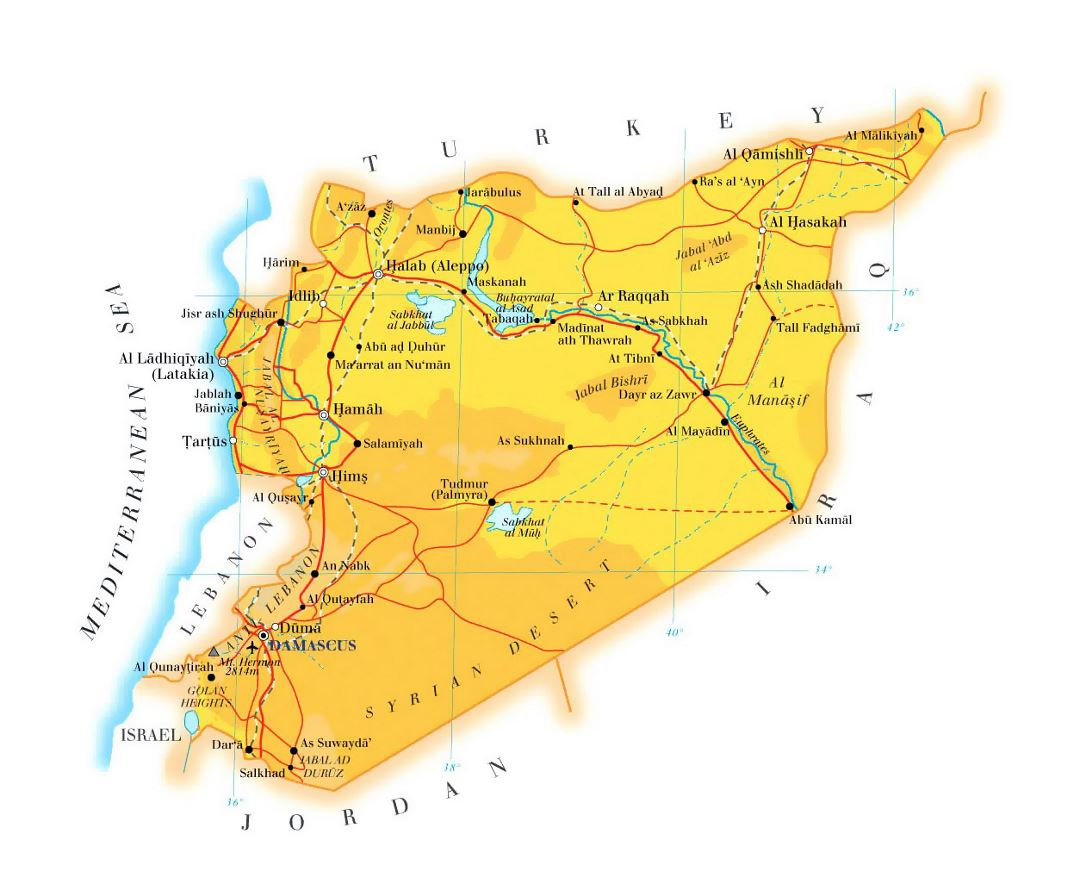 Detailed elevation map of Syria with roads, railroads, cities and airports