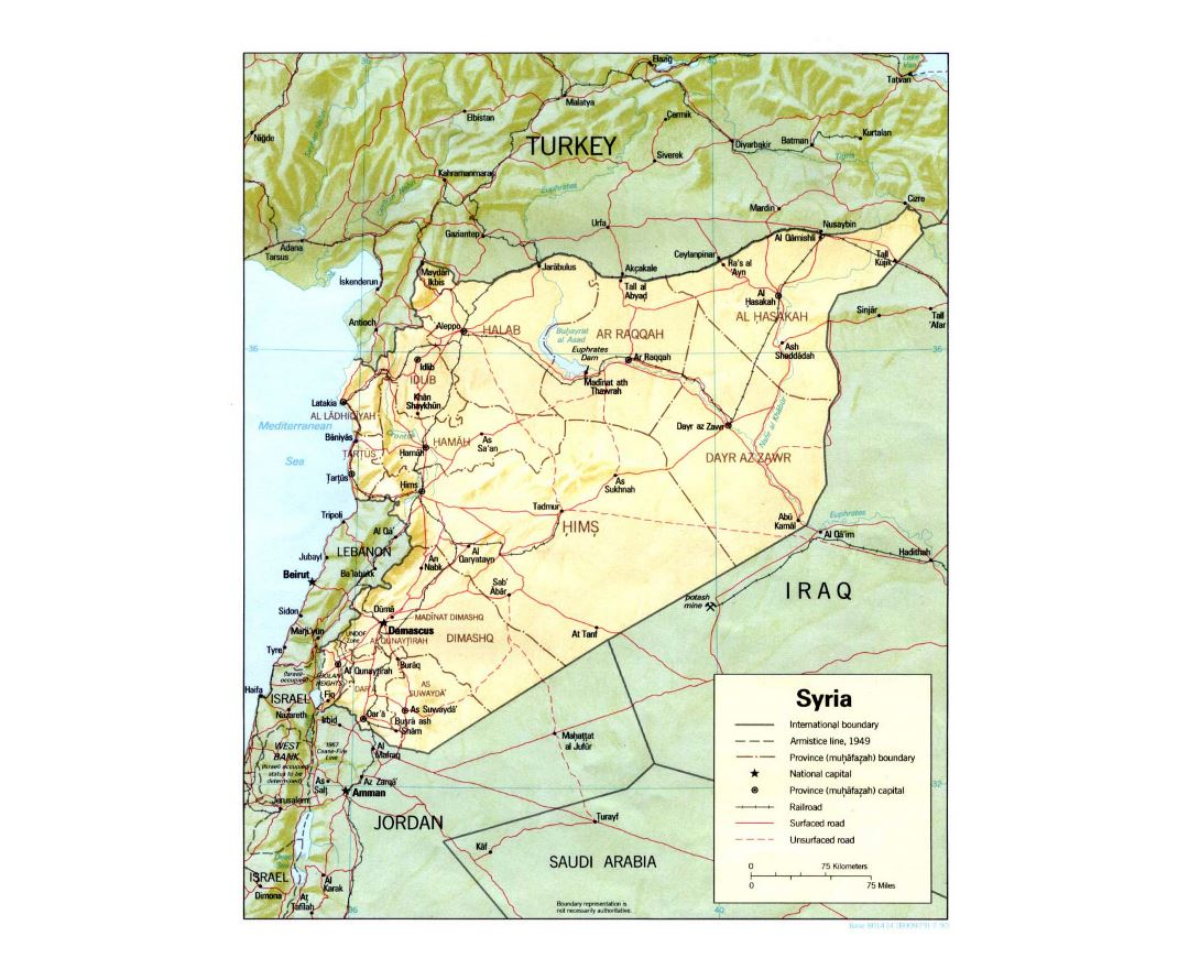 Detailed political and administrative map of Syria with relief, roads, railroads and major cities - 1990