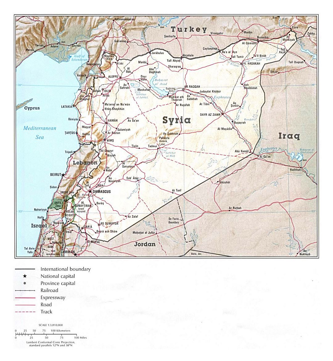 Detailed political map of Syria with relief, roads, railroads and major cities - 1993