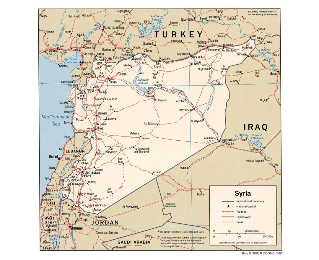 Detailed political map of Syria with roads, railroads and major cities - 2007