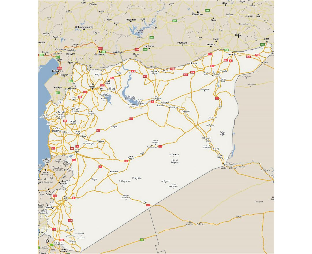 Detailed road map of Syria with all cities